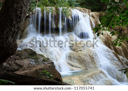 Waterfall in Erawan national park, level 6 Kanchanaburi