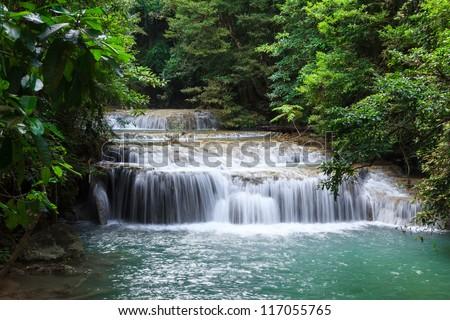 Waterfall in Erawan national park, level 2, Kanchanaburi - stock photo