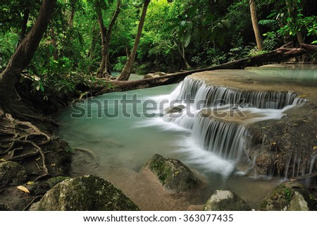 Waterfall in forest of Thailand - stock photo