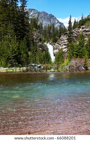 waterfall in Glacier National Park,USA - stock photo
