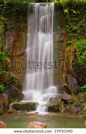 Waterfall in Hong Kong China - stock photo