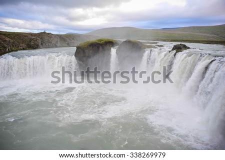 Waterfall in Iceland. Godafoss - stock photo