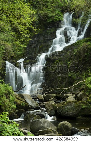 Waterfall in Ireland (Kerry country) - stock photo