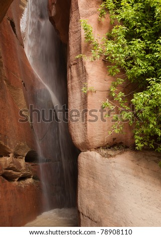 Waterfall in Kolob Canyons (Zion National Park) - stock photo