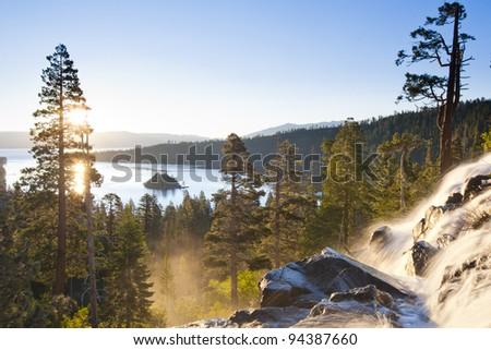 Waterfall in Lake Tahoe, California, United States of America. - stock photo