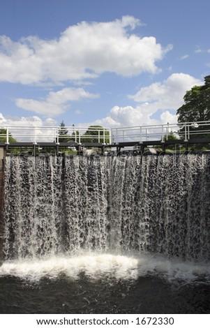 Waterfall in lock - stock photo