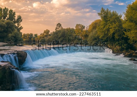 Waterfall in Manavgat, Turkey, at sunset - stock photo
