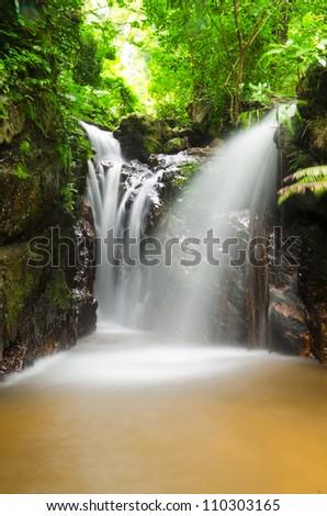 Waterfall in National Park in Rattanakosin National Park Kanchanaburi province Thailand - stock photo