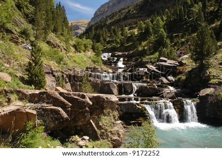 Waterfall in National park of Ordesa