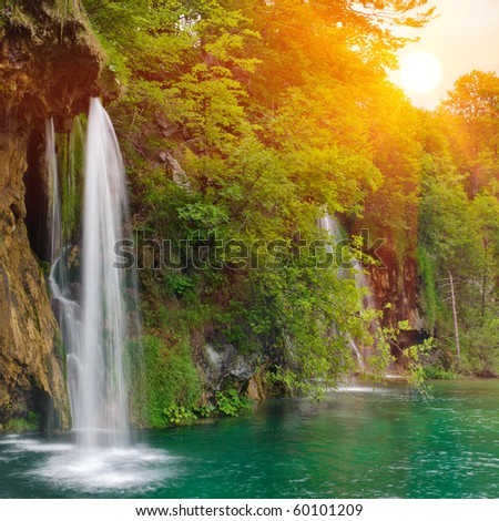 Waterfall in national park. Plitvice, Croatia - stock photo