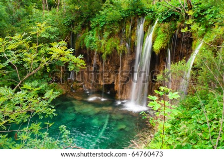 Waterfall in national park. Plitvice, Croatia