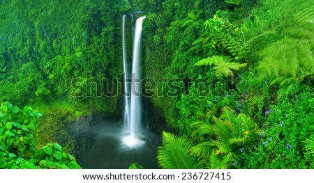 Waterfall in nature. - stock photo