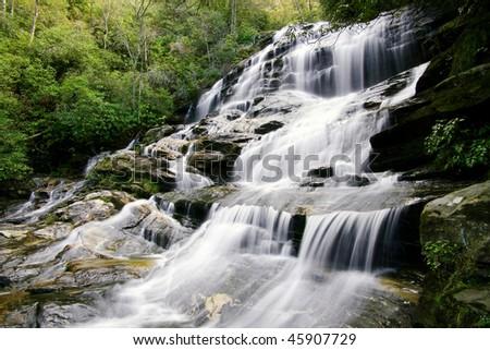 Waterfall in North Carolina mountains - stock photo