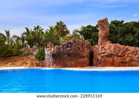Waterfall in park at Tenerife Canary - nature travel background - stock photo
