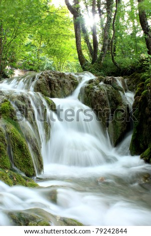 Waterfall in Plitvice Lakes national Park - stock photo