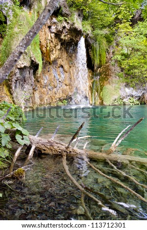 Waterfall in Plitvice lakes, National UNESCO park - Croatia, Europe.