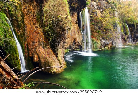 Waterfall in Plitvice National Park, Croatia, Europe - stock photo