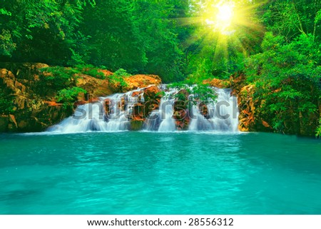 Waterfall in rain forest - stock photo