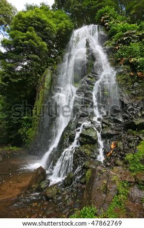 Waterfall in Sao Miguel Island - Azores - Atlantic ocean - Portugal - Europe - stock photo
