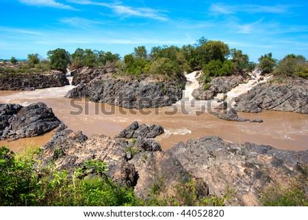 waterfall in Si Phan Don, Mekong River, Laos. - stock photo