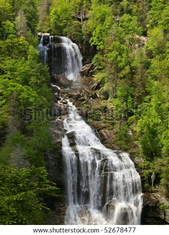 waterfall in spring - stock photo