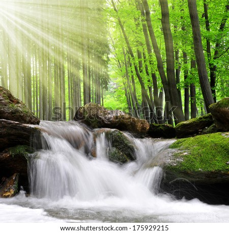 Waterfall in spring forest - stock photo