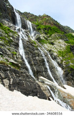 Waterfall in spring season in Caucasus