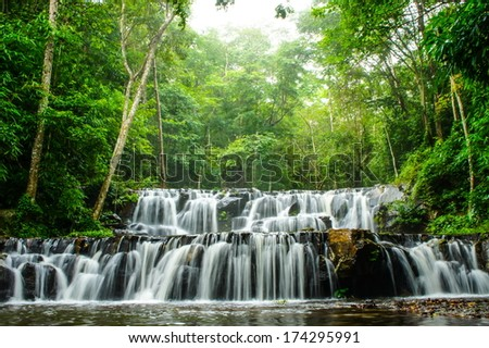 Waterfall in summer  - stock photo