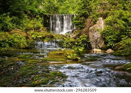 waterfall in summer - stock photo