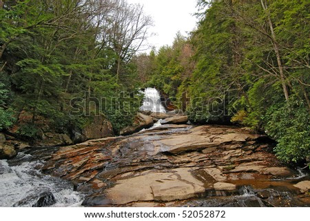 Waterfall in Swallow Falls Maryland in the Appalachian mountains - stock photo