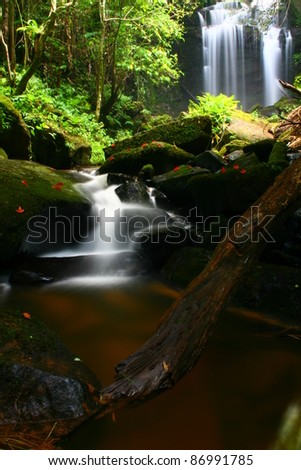 Waterfall in Thai National Park. In the deep forest on mountain, North of Thailand - stock photo