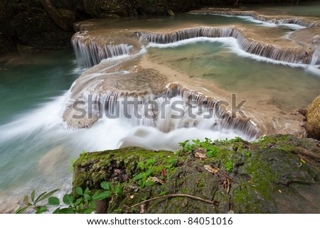 waterfall in thai national park. In the deep forest on mountain,Thailand - stock photo