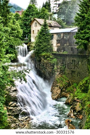 Waterfall in the Austrian alps by Bad Gastein