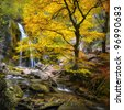 Waterfall in the autumn in the Crimea - stock photo
