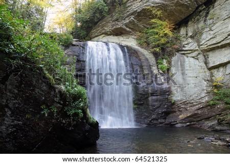 waterfall in the Blue Ridge Mountains in North Carolina, USA - stock photo