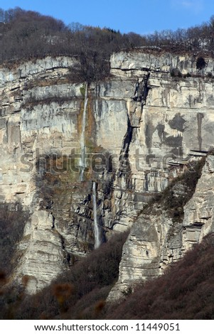 waterfall in the chartreuse mountains - stock photo