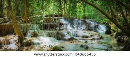 Waterfall in the deep forest at Huay Mae Kamin waterfall National Park, Thailand