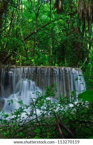 Waterfall in the forest asia thailand Erawan Waterfall, Kanjanaburi Thailand