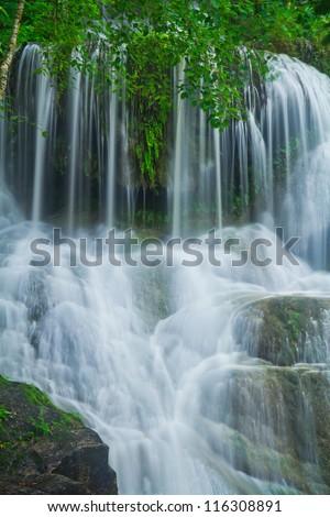 Waterfall in the forest asia thailand Erawan Waterfall, Kanjanaburi Thailand - stock photo