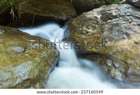 waterfall in the forest ,Chiang Mai, north of Thailand - stock photo