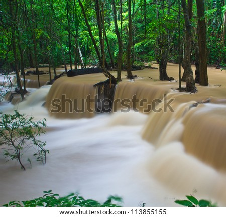 Waterfall in the forest Huay mae Kamin waterfall asia thailand