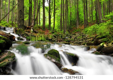 Waterfall in the national park Sumava-Czech Republic - stock photo