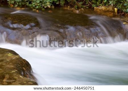 Waterfall in the Natural Park of the Monasterio de Piedra, Zaragoza, Aragon, Spain. - stock photo