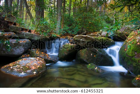 Waterfall in the Smokey Mountains National Park in fall