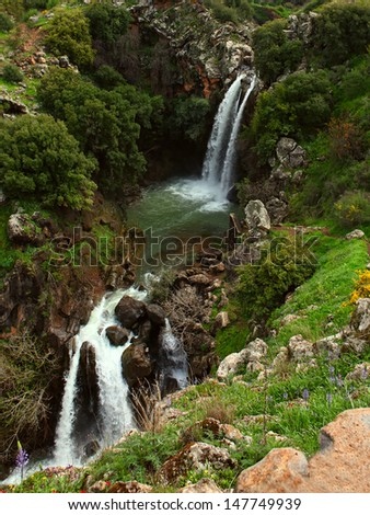 waterfall  in the spring - stock photo