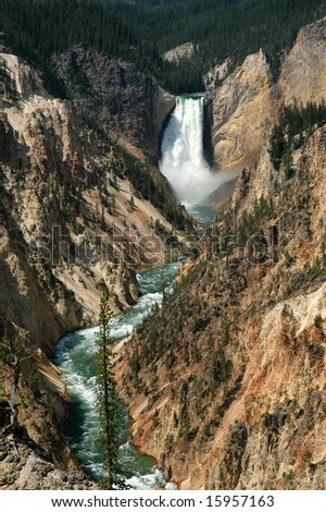 Waterfall in the Yellowstone River, Yellowstone National Park, Montana