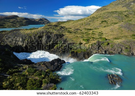 Waterfall in Torres del Paine National Park - stock photo