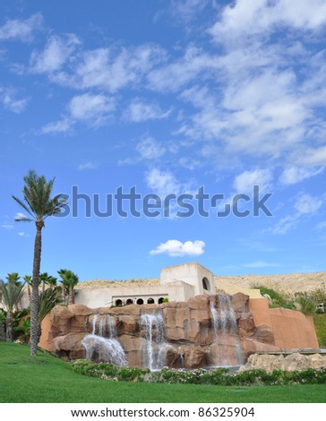 Waterfall in Tropical Climate Area on Beautiful Sunny Blue Sky Day
