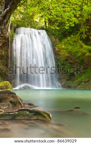 waterfall in tropical forest at Erawan national park Kanchanaburi province Thailand