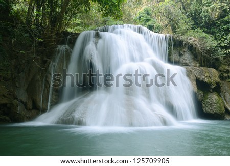 waterfall in tropical forest, at Kanchanaburi Thailand.